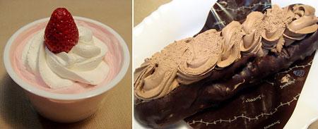 110125_ファミリーマート「Sweets+ホイップクリームオニ盛プリン&いちごクリーム」・「Sweets+俺のエクレア」
